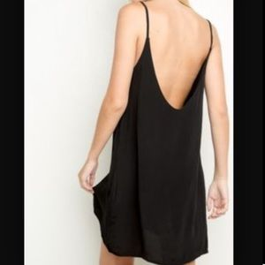 Brandy Melville Black Scoop Back Slip Dress